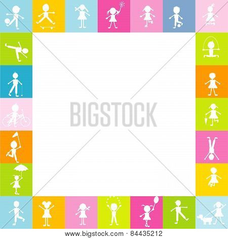 Frame For Children With Stylized Kids Silhouettes Playing. Free Space For Text