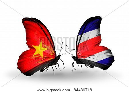 Two Butterflies With Flags On Wings As Symbol Of Relations Vietnam And Costa Rica