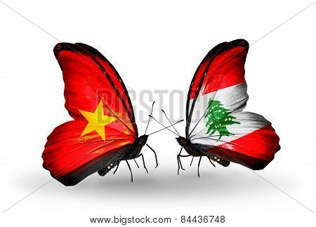Two Butterflies With Flags On Wings As Symbol Of Relations Vietnam And Lebanon