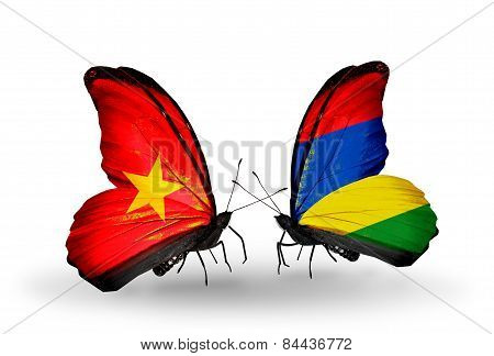 Two Butterflies With Flags On Wings As Symbol Of Relations Vietnam And Mauritius