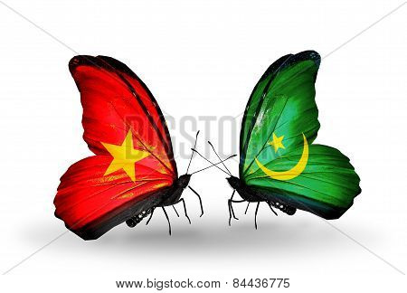 Two Butterflies With Flags On Wings As Symbol Of Relations Vietnam And Mauritania