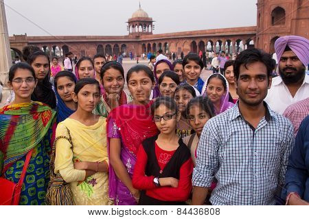 Delhi, India - November 5: Unidentified People Stand At Jama Masjid On November 5, 2014 In Delhi, In