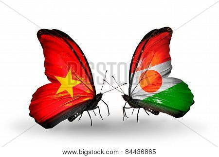 Two Butterflies With Flags On Wings As Symbol Of Relations Vietnam And Niger