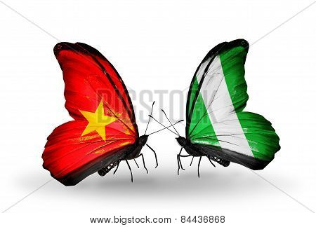 Two Butterflies With Flags On Wings As Symbol Of Relations Vietnam And Nigeria