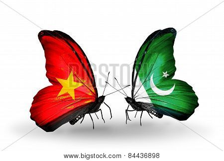 Two Butterflies With Flags On Wings As Symbol Of Relations Vietnam And Pakistan
