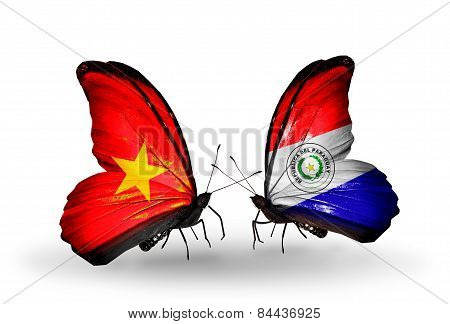 Two Butterflies With Flags On Wings As Symbol Of Relations Vietnam And Paraguay