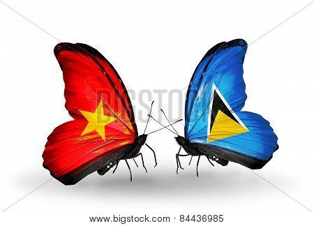 Two Butterflies With Flags On Wings As Symbol Of Relations Vietnam And Saint Lucia