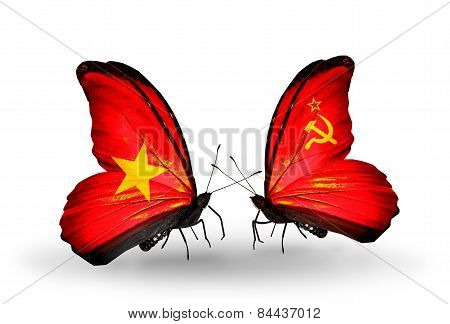 Two Butterflies With Flags On Wings As Symbol Of Relations Vietnam And Soviet Union