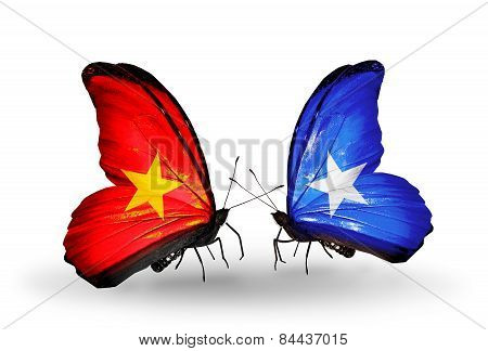 Two Butterflies With Flags On Wings As Symbol Of Relations Vietnam And Somalia