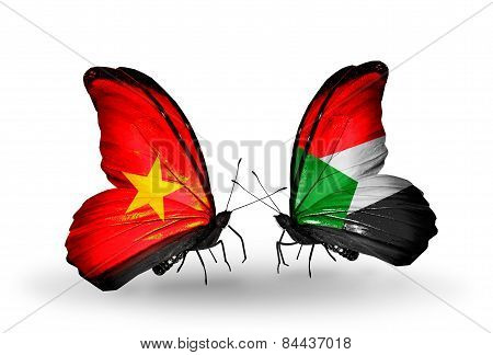 Two Butterflies With Flags On Wings As Symbol Of Relations Vietnam And Sudan