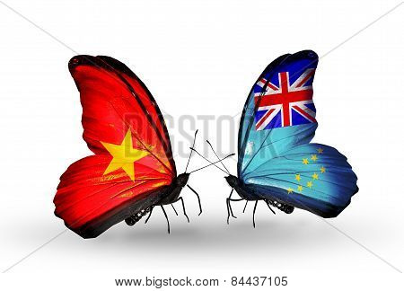 Two Butterflies With Flags On Wings As Symbol Of Relations Vietnam And Tuvalu