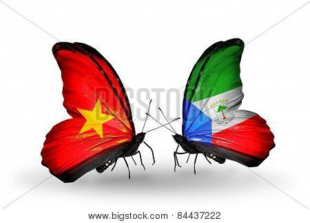 Two Butterflies With Flags On Wings As Symbol Of Relations Vietnam And Equatorial Guinea