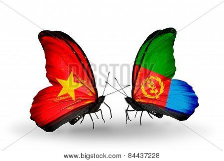Two Butterflies With Flags On Wings As Symbol Of Relations Vietnam And Eritrea