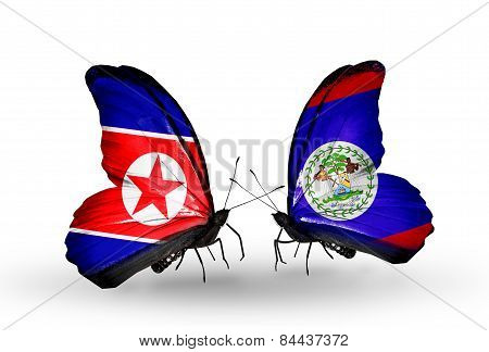 Two Butterflies With Flags On Wings As Symbol Of Relations North Korea And Belize