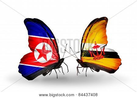 Two Butterflies With Flags On Wings As Symbol Of Relations North Korea And Brunei