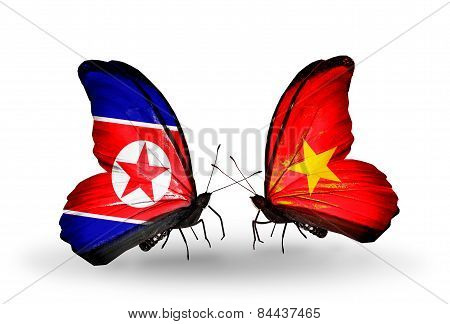 Two Butterflies With Flags On Wings As Symbol Of Relations North Korea And  Vietnam