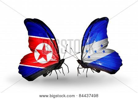 Two Butterflies With Flags On Wings As Symbol Of Relations North Korea And Honduras