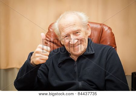 Old Man Showing Thumbs Up