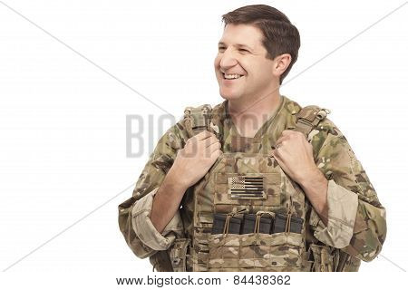 Happy Army Soldier Looking Away