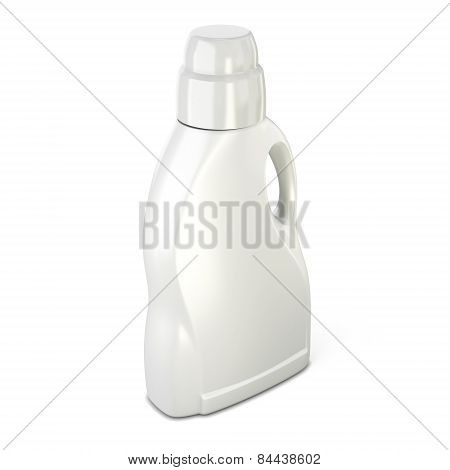 White Bottle For Detergent On A White Background