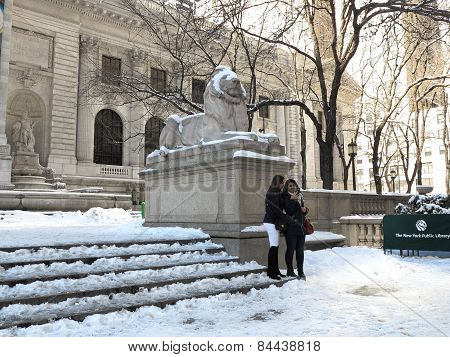 New York Public Library In Winter