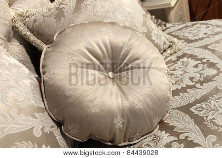 Round Cushion On A Sofa
