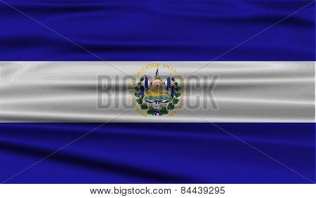 Flag Of El Salvador With Old Texture. Vector