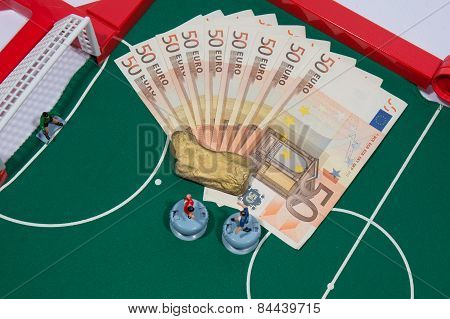 Figures Of Football Players On Euro Banknotes,  Syringe