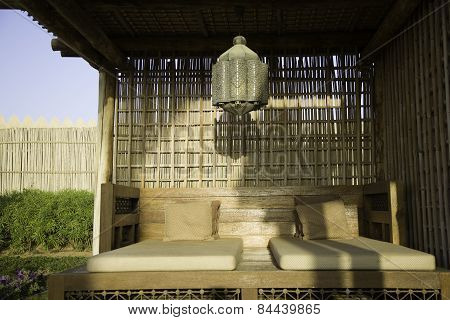 Relaxation pavilion with two beds outdoor
