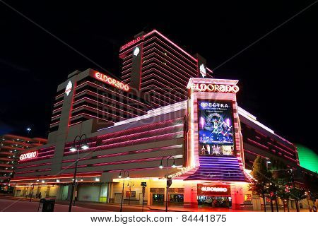 Reno, Usa - August 12: Eldorado Hotel And Casino At Night On August 12, 2014 In Reno, Usa.  Reno Is