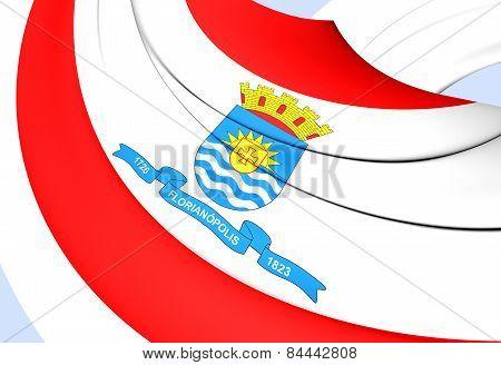 Flag Of Florianopolis, Brazil.
