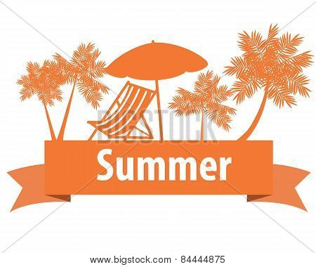 Summer vacation. Loungers and palm trees on the orange ribbon. Vector illustration