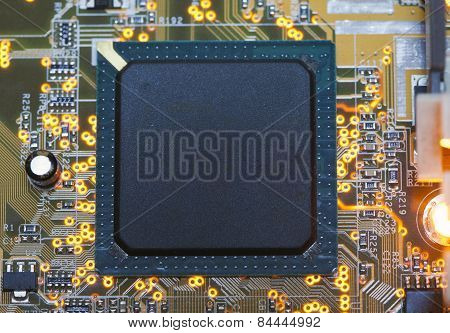 Electronic microcircuit and microchip . Close up .