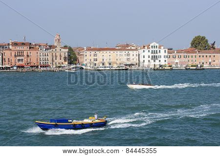 Water Traffic And Quay In Summer Venice