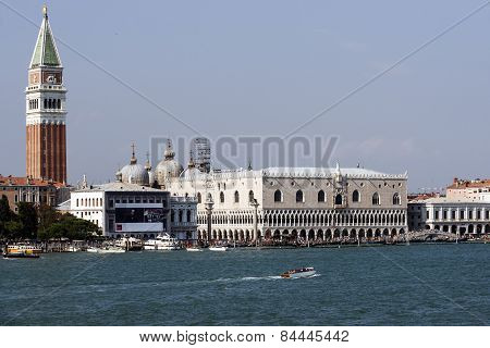 Doges Palace, Schiavoni Quay And Water Traffic In Summer Venice