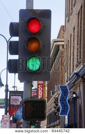 Reno, Usa - August 12: Traffic Light In The Street On August 12, 2014 In Reno, Usa.  Reno Is The Mos