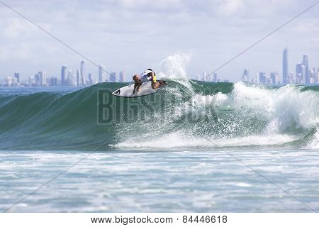 Fred Patacchia Jnr competing in the Quicksilver Pro at Snapper Rocks