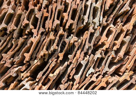 Stack Of The Orange Roof Tiles