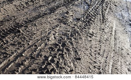 Wheel Tracks On The Dirt Road