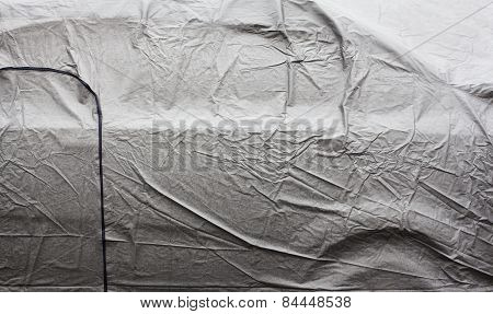 Wet Car Cover Surface. Close Up.