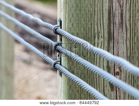 Close-up Of Three Metal Cables Attached To Wood