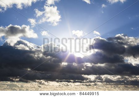 Cloudscape With The Sun Behind The Clouds