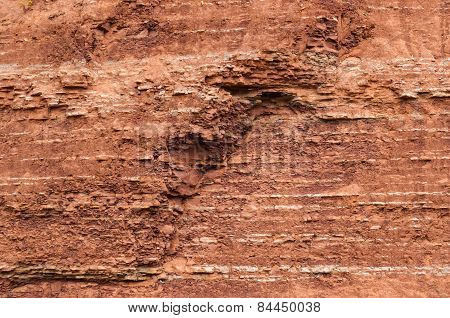 Red Sedimentary Clay Background Eroding