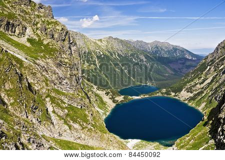 View Of The Lake In The Valley Of The Eye And The Black Sea Pond In Polish Mountains, Tatras