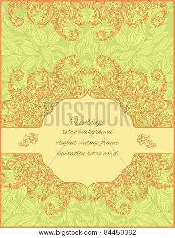 card with floral ornament and place for text on a horizontal lab
