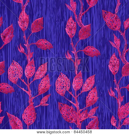 seamless pattern of pink leaves on pink branches