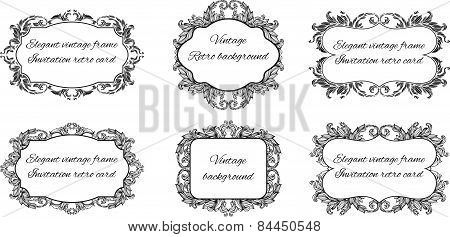 set of six black and white frames for text in floral style frame