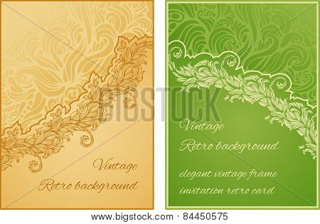 set of two cards with diagonal floral ornament and place for tex