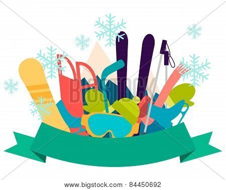 Winter vacation. Sports accessories and equipment. Vector illustration