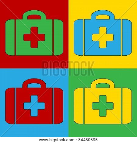 Pop Art First Aid Symbol Icons.